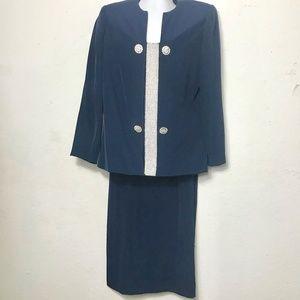 Heiser-Egan 2 pc. Skirt Suit Rhinestones Navy NWOT